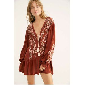 Free People Wild Dreams Embroidered Tunic Top XS